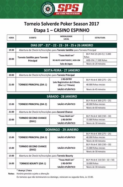 Etapa #1 Solverde Poker Season 2017 - 27 a 29 Janeiro no Casino Espinho 101
