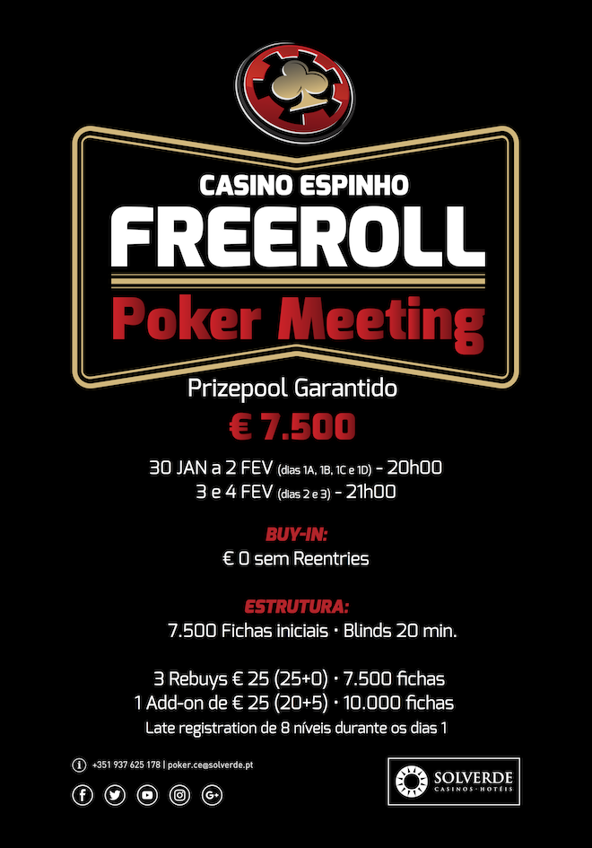 Freeroll Poker Meeting com €7,500 Garantidos no Casino Espinho (30 Jan a 4 Fev) 101