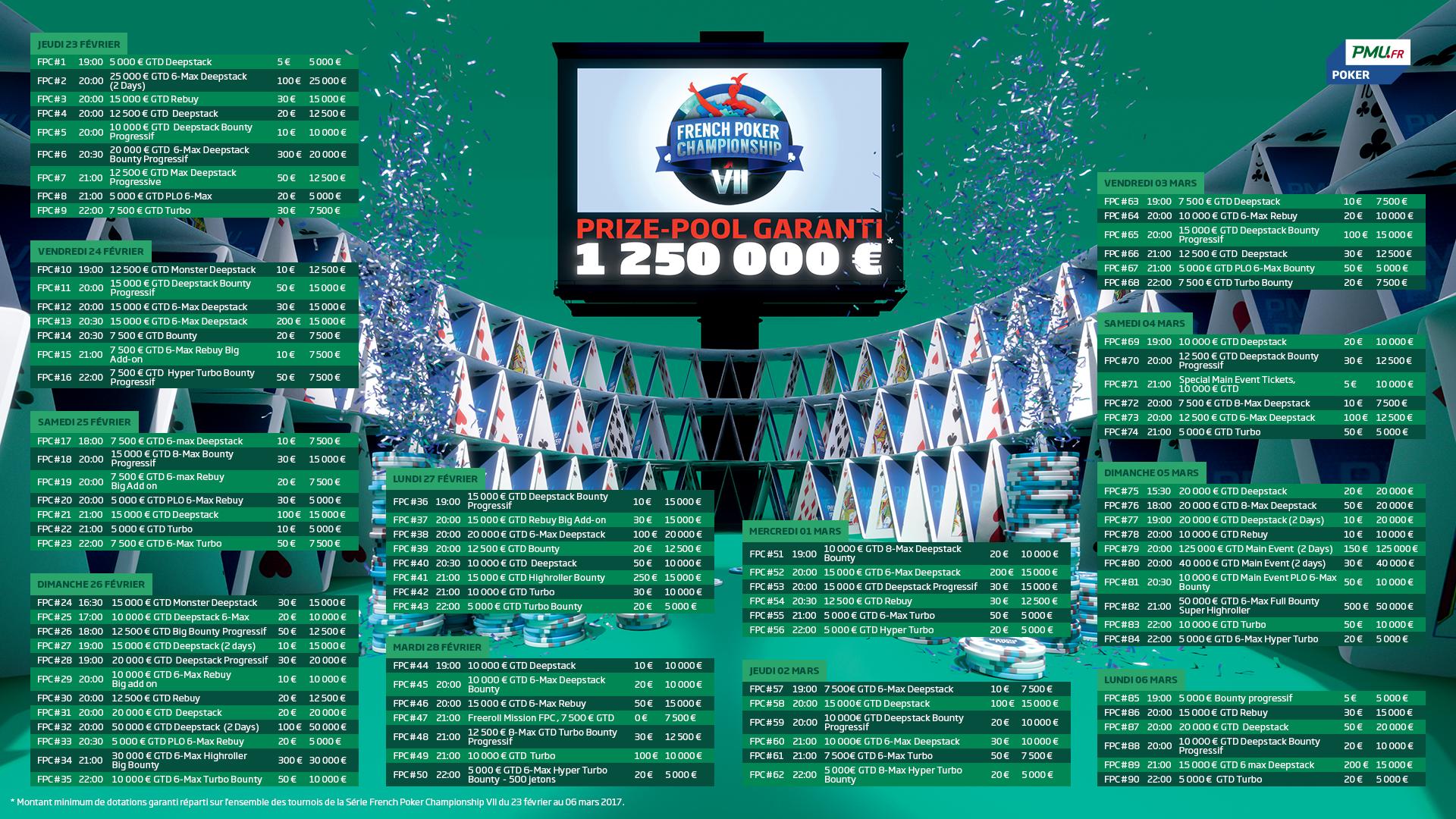 PMU Poker : Le programme complet des FPCVII 101