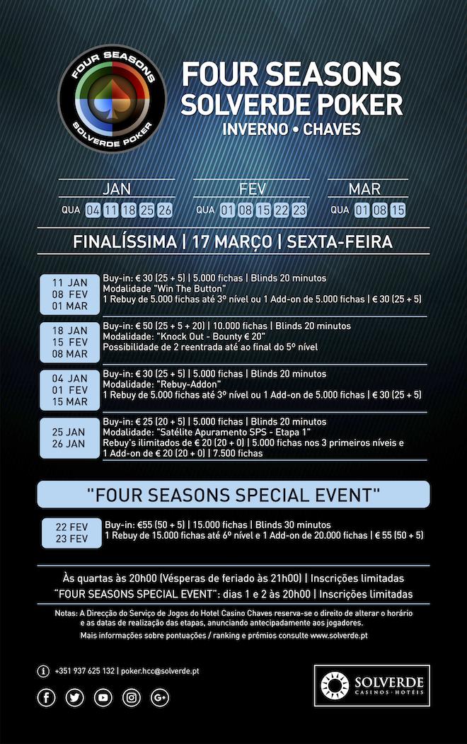 Four Seasons Solverde Poker: Chaves, Espinho e Monte Gordo Realizam Torneios Hoje (8 Fev.) 101