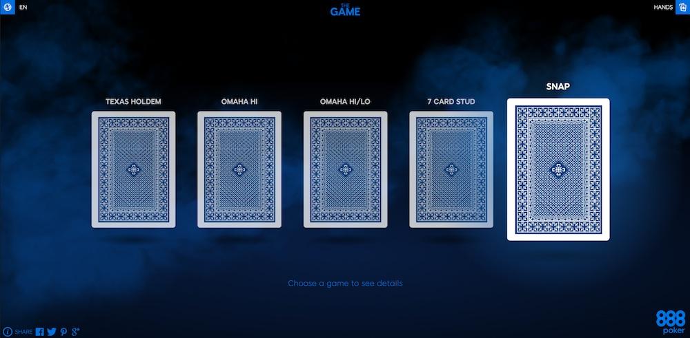 """Lernen Sie SNAP Poker und mehr mit 888Poker's """"The Game"""" 101"""