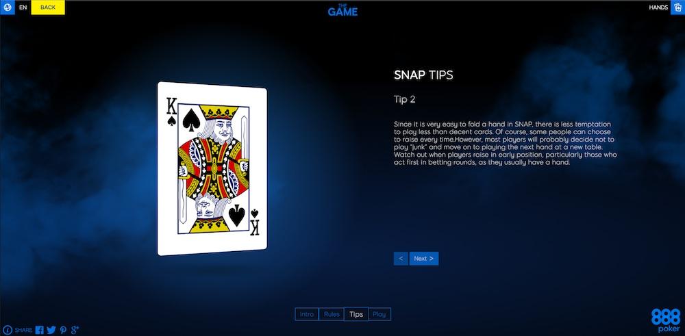 """Lernen Sie SNAP Poker und mehr mit 888Poker's """"The Game"""" 103"""