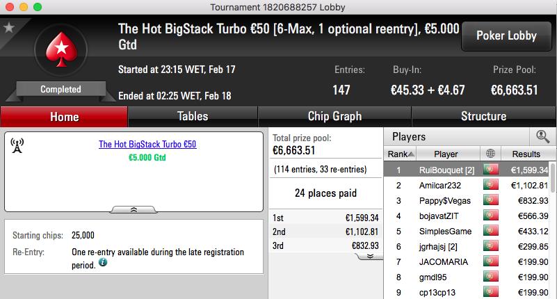 Rui Bouquet Vence Hot BigStack Turbo €50 & Mais 101