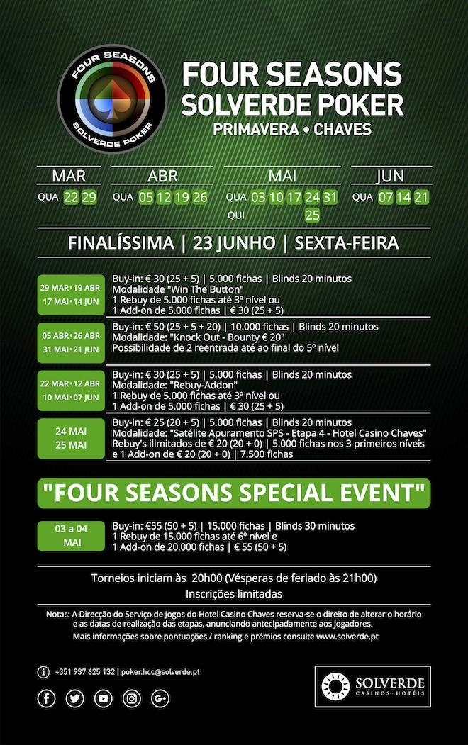 Four Seasons Solverde Poker Primavera de 22 de Março a 21 de Junho no Hotel Casino Chaves 101