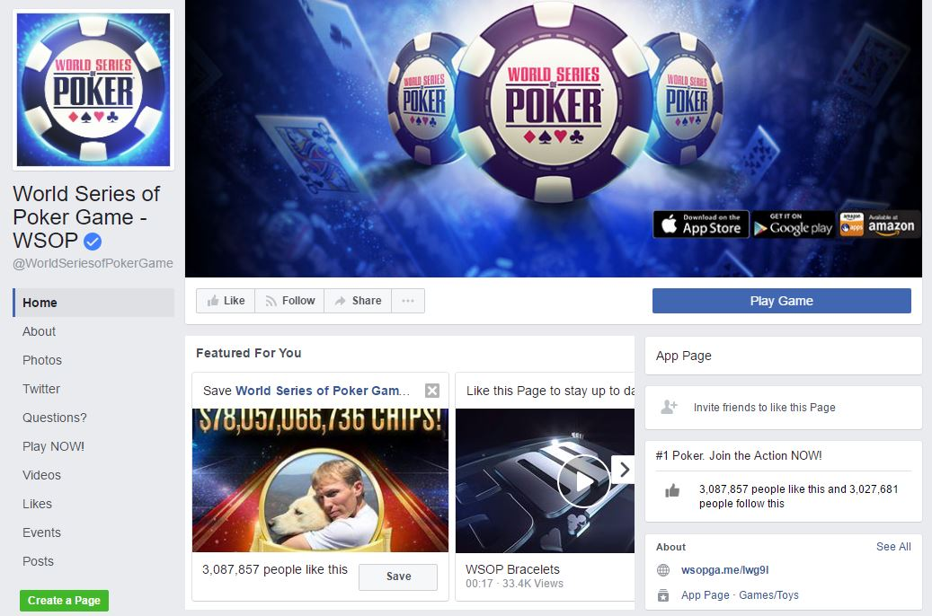PlayWSOP Facebook page