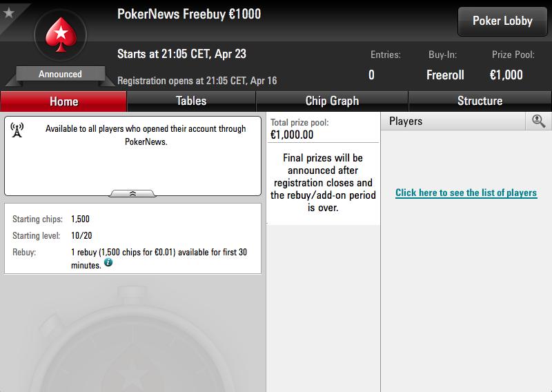Participa gratis y gana una parte de los 1.000€ de nuestro Freerebuys de mayo en PokerStars 101
