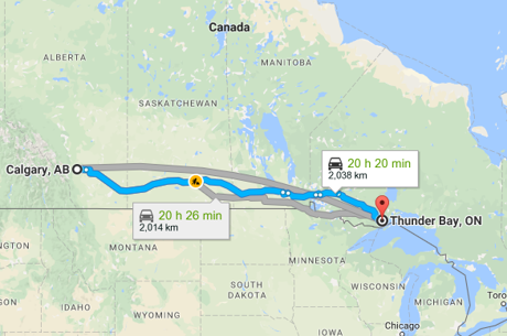 Google Map from Calgary to Thunder Bay