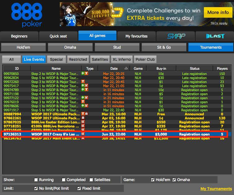 How to Qualify for the WSOP Through 888poker 106