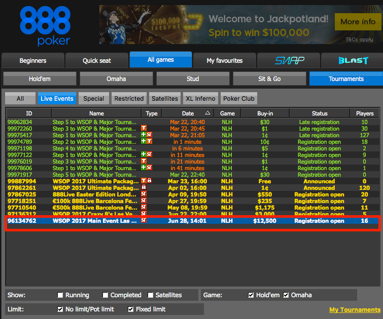 How to Qualify for the WSOP Through 888poker 110