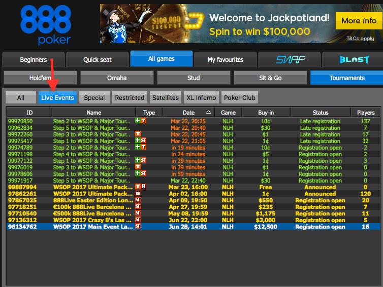 How to Qualify for the WSOP Through 888poker 105