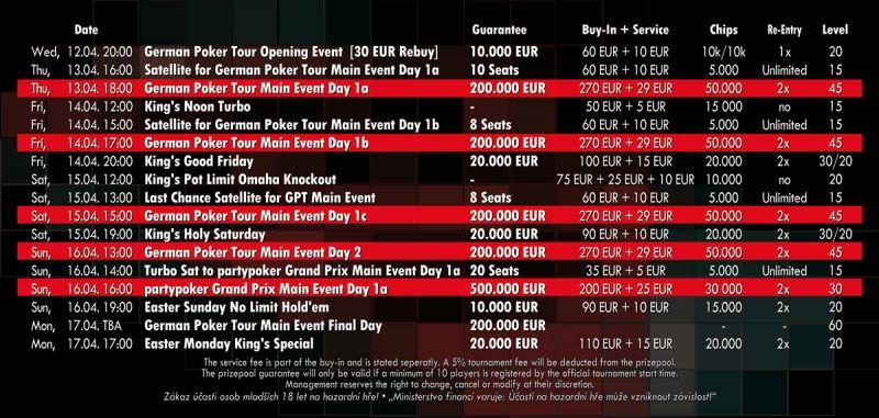 GPT German Poker Tour ab heute im King's 101