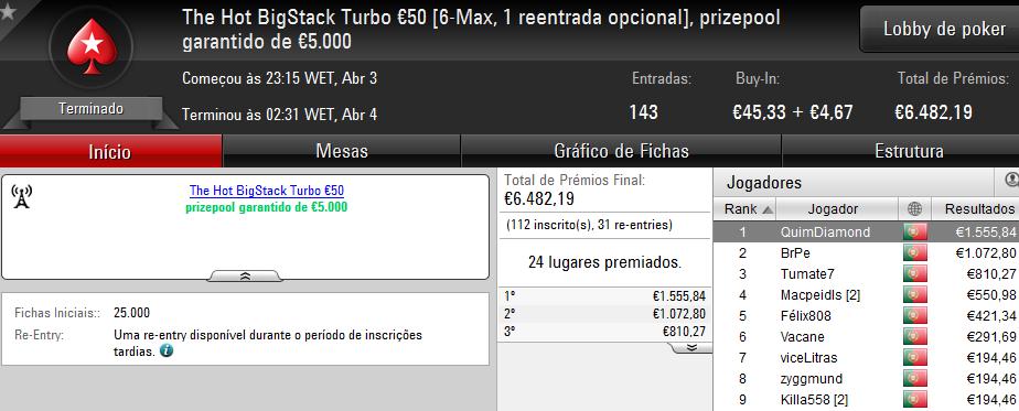 QuimDiamond Volta a Vencer The Hot BigStack Turbo €50 & Mais 101