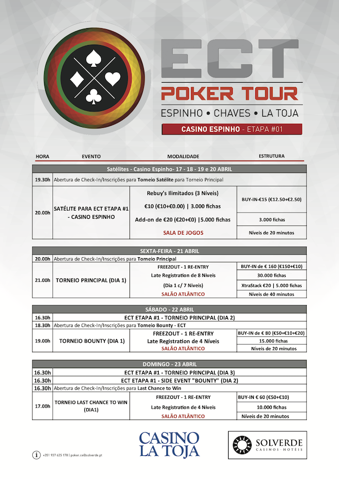 Etapa #1 ECT Poker Tour 2017: 21 a 23 de Abril no Casino Espinho 101