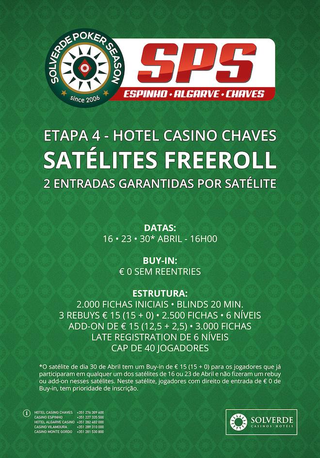 Hoje às 16:00 Freeroll Rumo à Etapa #4 SPS no Hotel Casino Chaves 101