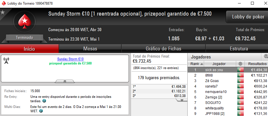 hugofmartins Vence Sunday Special €100 e sick as you o Sunday Storm €10 102