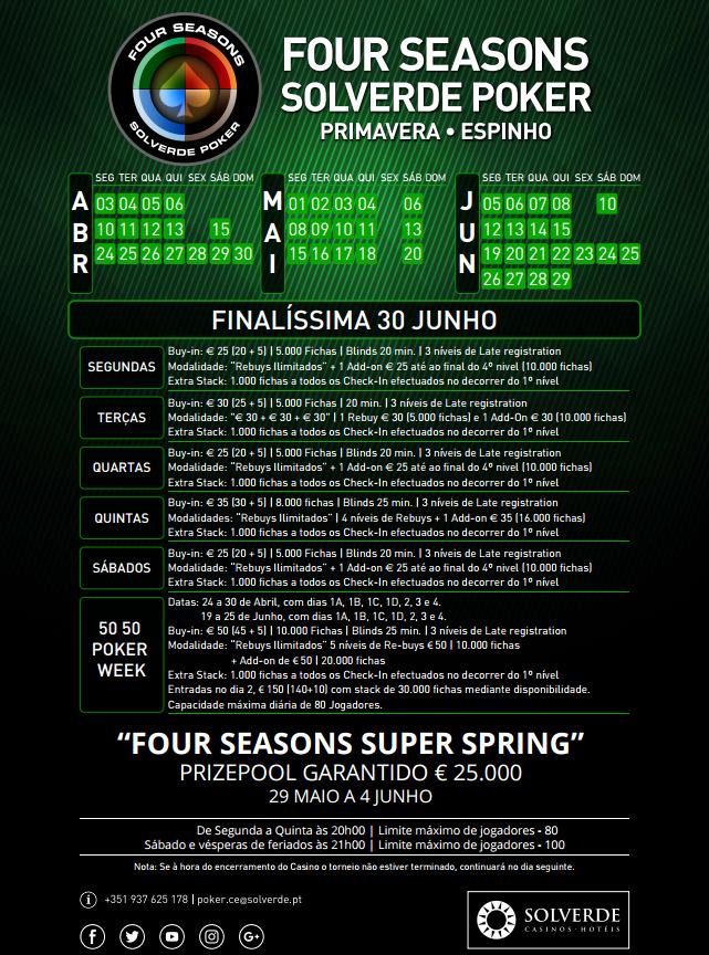 Solverde: Amanhã Torneio Four Seasons em Espinho e Domingo Freeroll para o SPS em Chaves 101