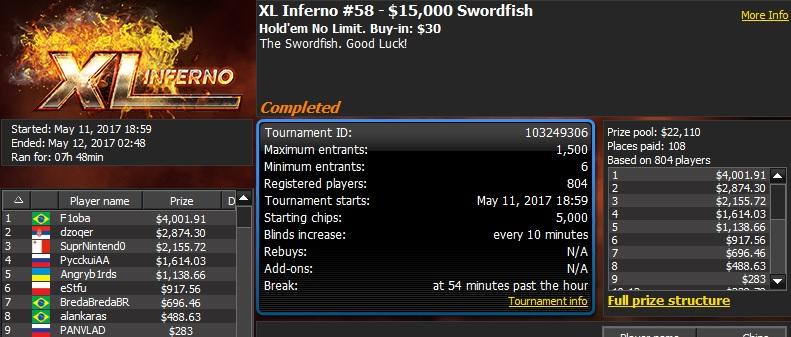 888poker XL Inferno Series Day 5: 'bananove' Wins 0K Quarterback 102