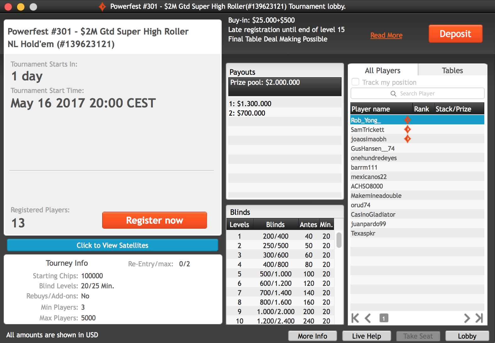 Million Powerfest Super High Roller Targets to Raise 0K for Charity 101