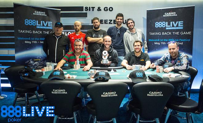 Deal 9-handed no Opening Event do 888Live Barcelona; Quelhas foi 8º 101