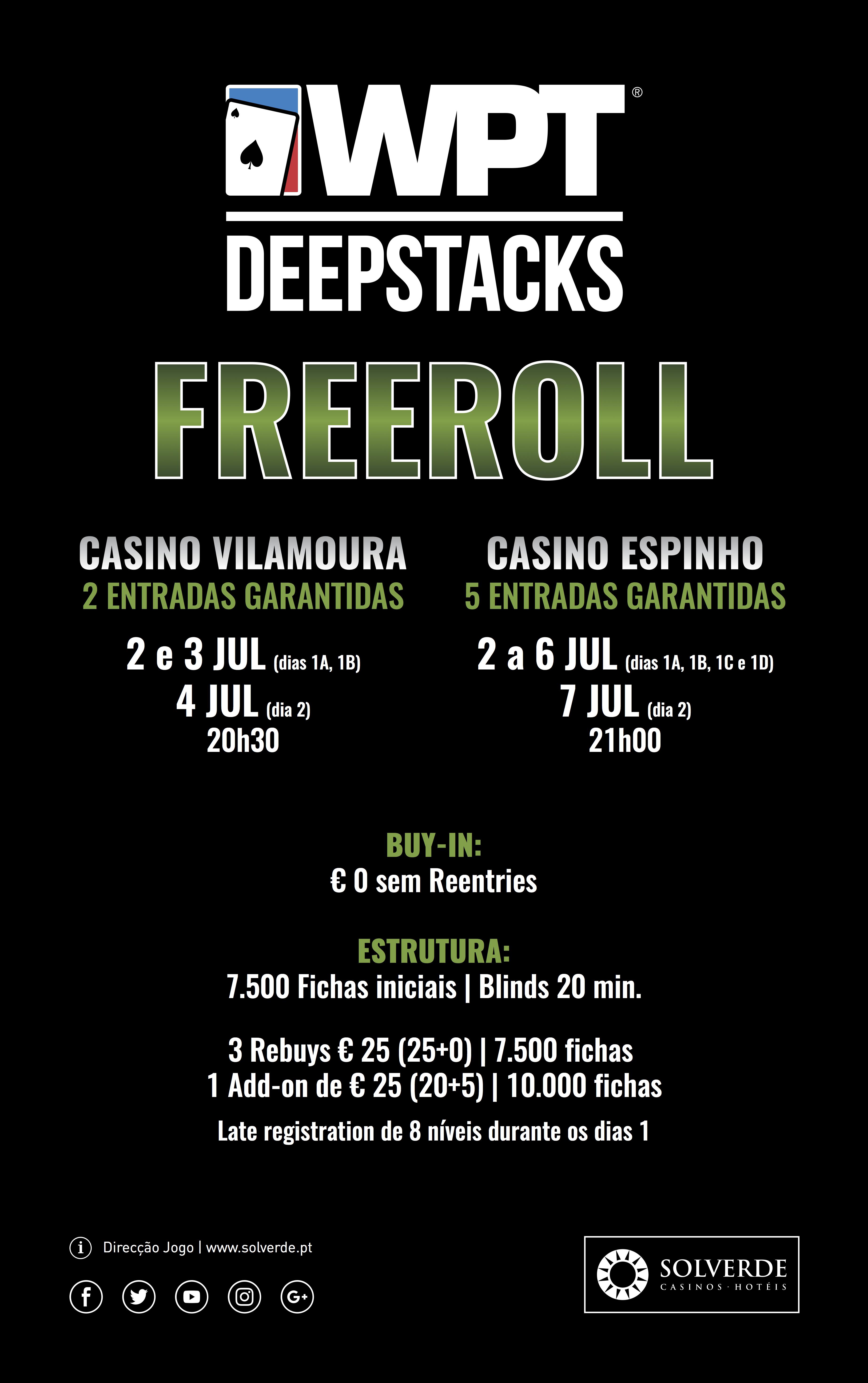 Começam Hoje em Vilamoura e Espinho os Freerolls para o WPTDeepStacks 101