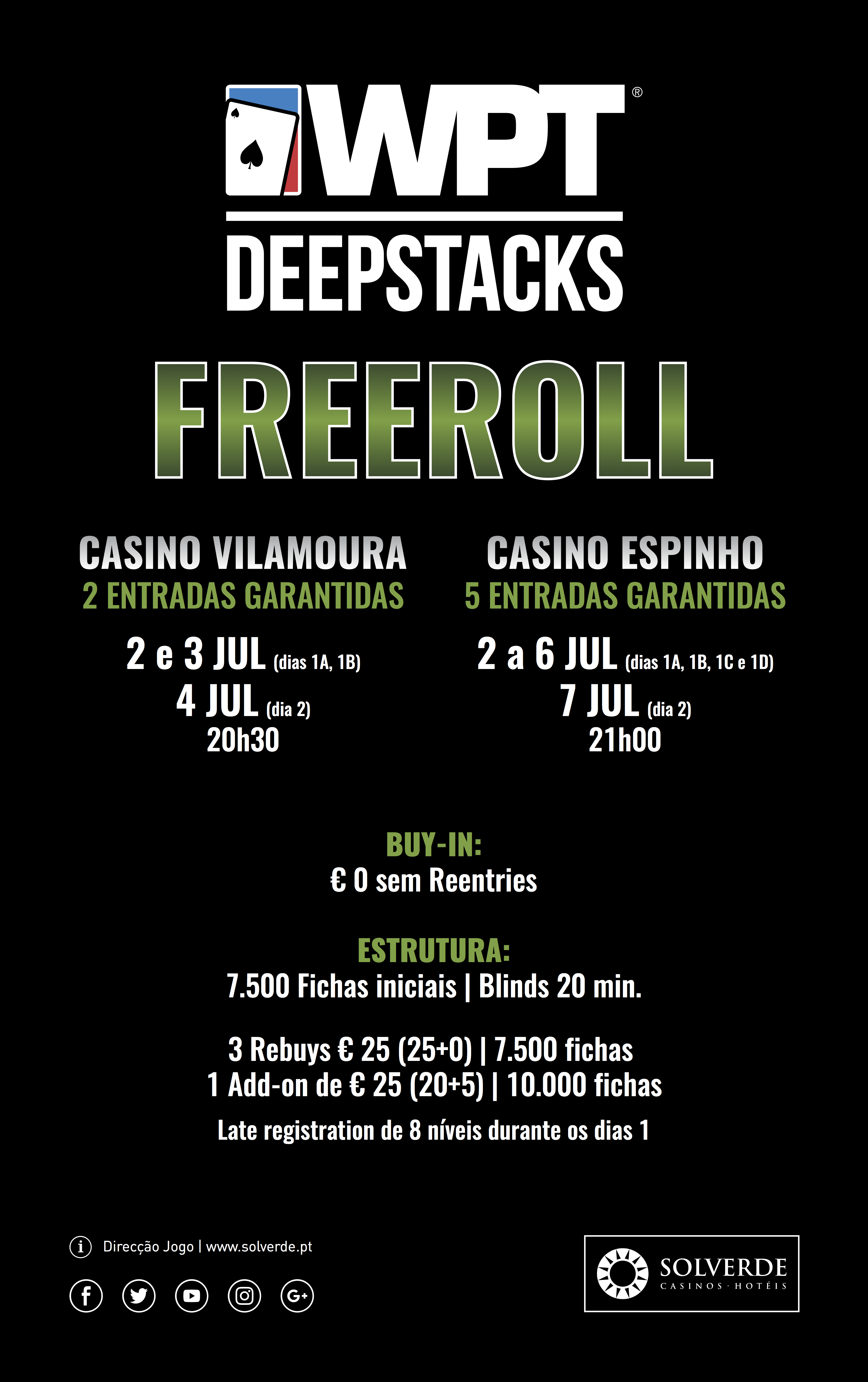 Freeroll para o WPTDeepStack distribui 5 entradas em Vilamoura 101