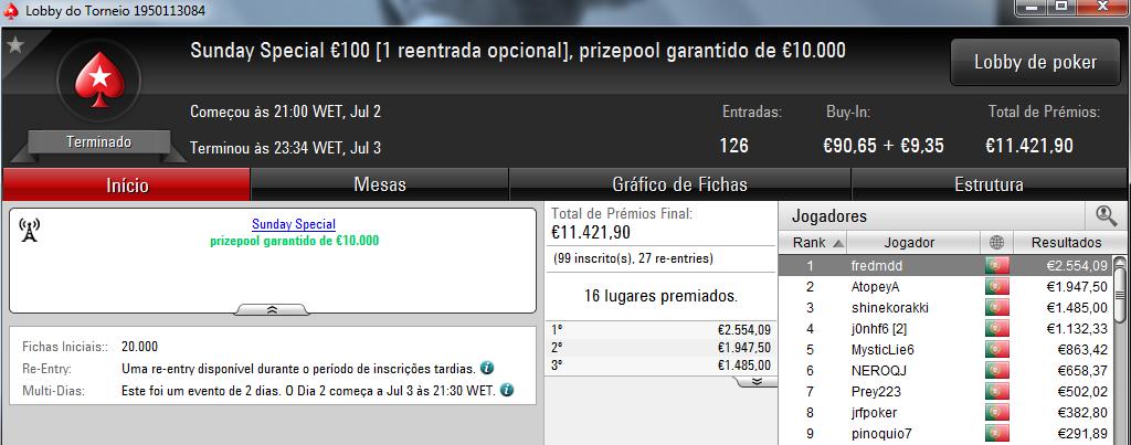 Fredmdd Conquista Sunday Special €100 e Limazao10 o Sunday Storm €10 & Mais 101