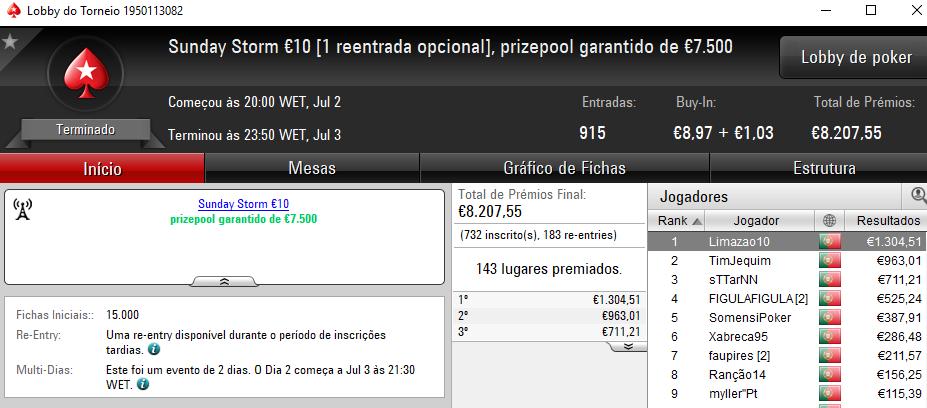 Fredmdd Conquista Sunday Special €100 e Limazao10 o Sunday Storm €10 & Mais 102