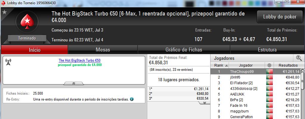 Fredmdd Conquista Sunday Special €100 e Limazao10 o Sunday Storm €10 & Mais 103
