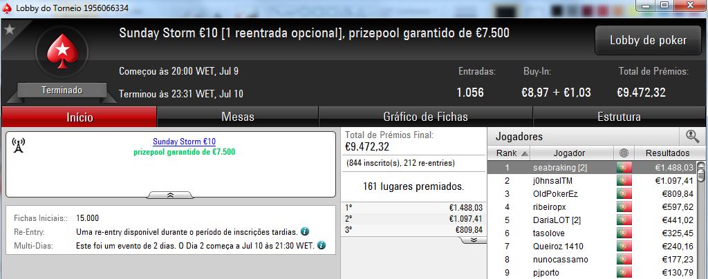 Amlfaria Conquista o Sunday Special €100 e Seabraking o Sunday Storm €10 & Mais 102