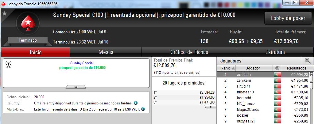 Amlfaria Conquista o Sunday Special €100 e Seabraking o Sunday Storm €10 & Mais 101