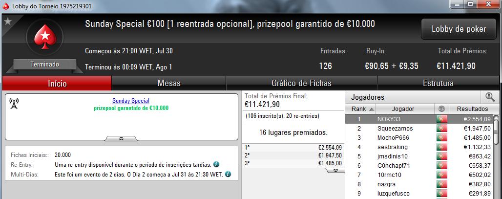 NOKY33 Vence o Sunday Special €100 e Andrept777 o Sunday Storm €10 101