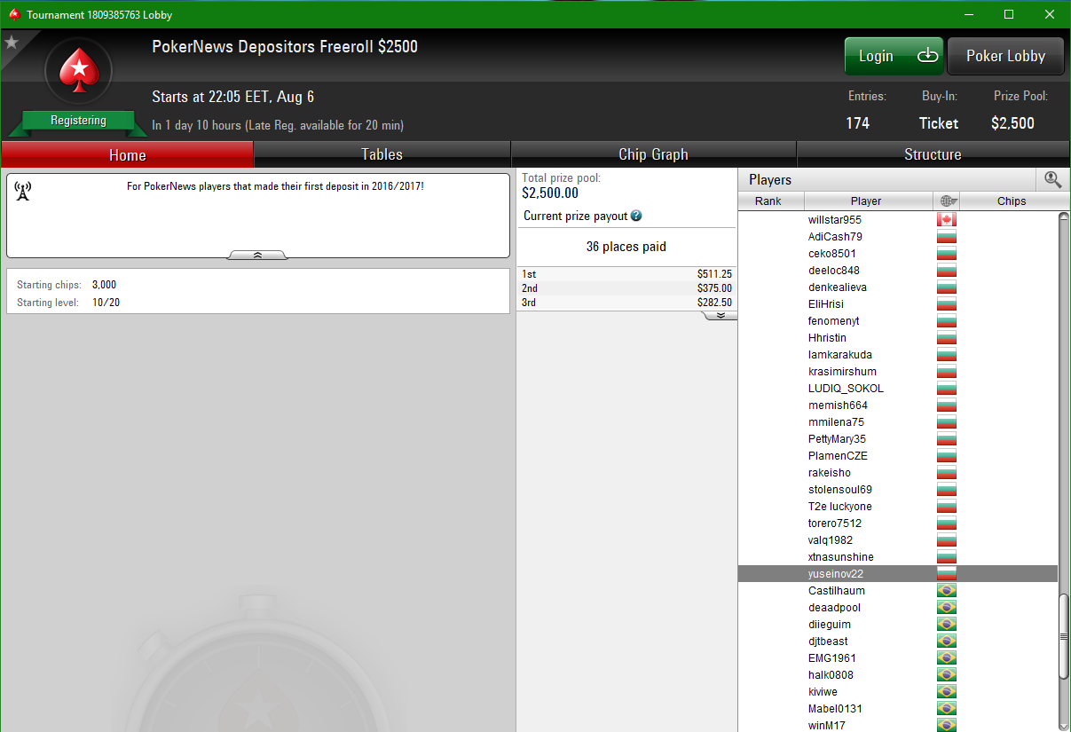Тази неделя от 22:05 PokerNews ,500 Depositors фрийрол в PokerStars 101