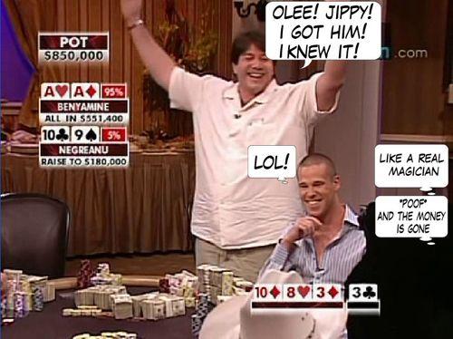 High Stakes Poker Cómico! Negreanu vs Benyamine 122