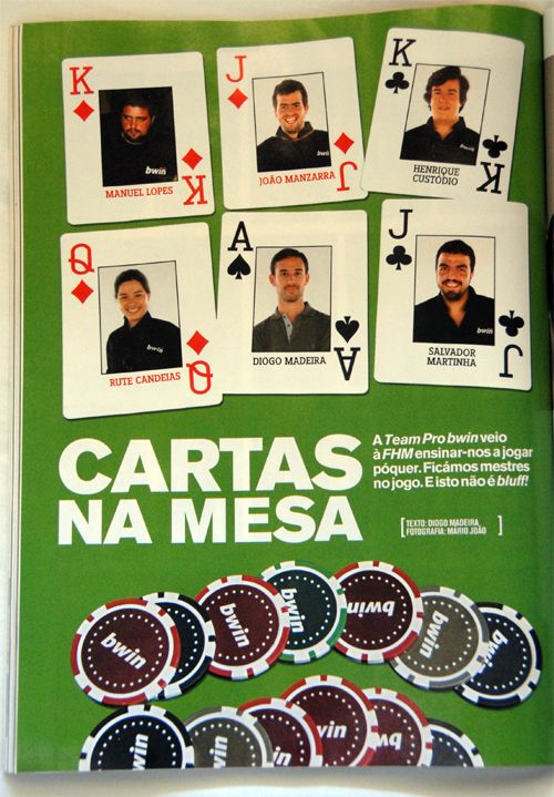 Jogadores Equipa Bwin Poker Entrevistados na FHM 101