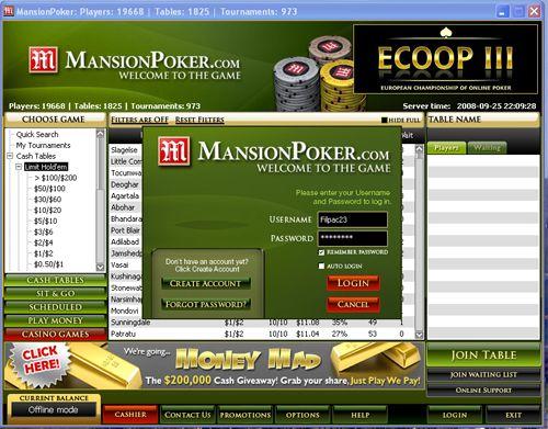 Mansion Poker Fez Actualização de Software 101