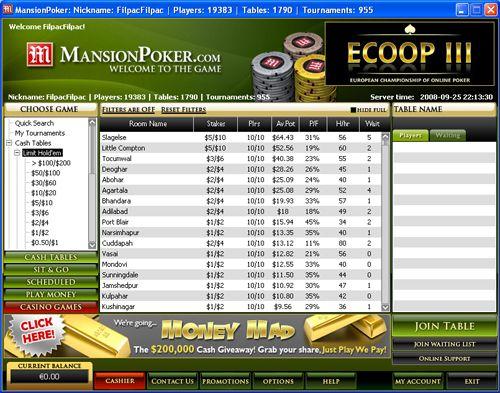 Mansion Poker Fez Actualização de Software 102
