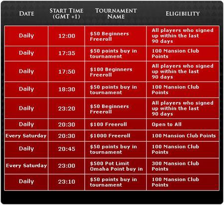 Promoções na Mansion Poker 107