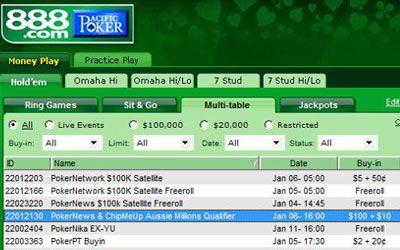 ChipMeUp and 888 Poker Aussie Millions Qualifier 101