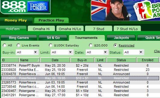 888 Poker $11 WSOP Play Off Tourney