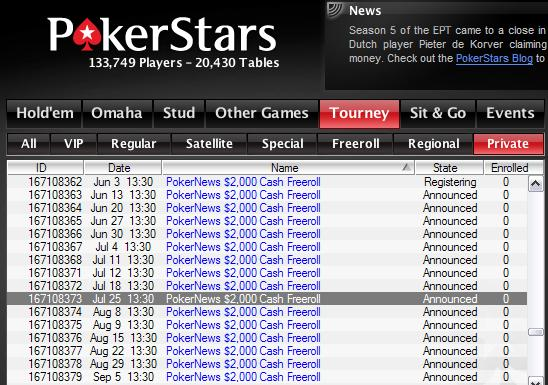 $2,000 PokerNews Cash Freerolls - PokerStars