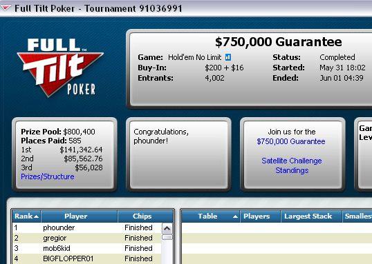 'Phounder' Venceu o 0K Garantidos na Full Tilt Poker! 101