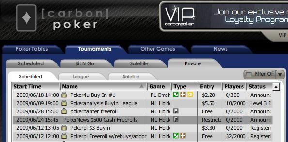 $500 PokerNews Cash Freerolls - Carbon Poker