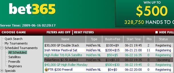 PokerNews $2,500 Added Tournaments - bet365 Poker