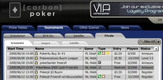 Freerolls exclusivos para PokerNews en Carbon Poker con premios de 500$ en metálico 101