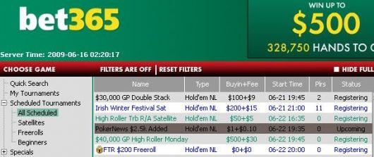 bet365 Poker 00 turneringsserie – Exklusivt för PokerNews spelare 101