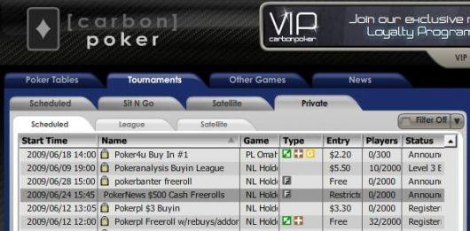 Carbon Poker värd för en 0 PokerNews cash freerollserie 101