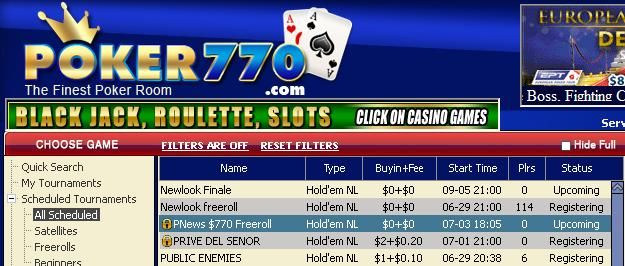 $770 Cash Freerolls running all year at Poker770