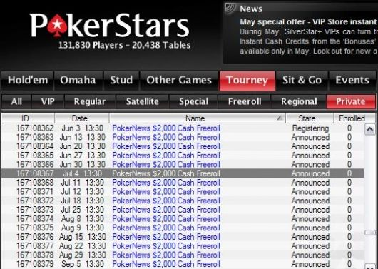 Ka juulis vähemalt üks PokerNewsi 00 cash-freeroll igal nädalal PokerStarsis! 101