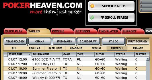 Série Freerolls de Verão na Poker Heaven! 101