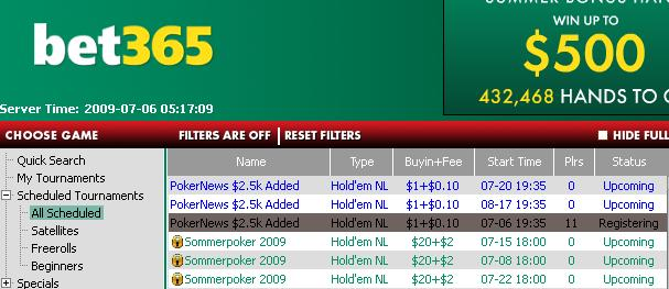 $2,500 Added Tourneys at bet365 Poker - Exclusive to PokerNews